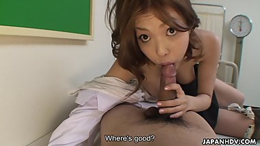 Attractive Japanese gal slurps a big thick meat rod