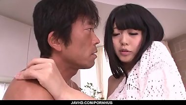 Riisa Minami moans while feeling a big dick in her