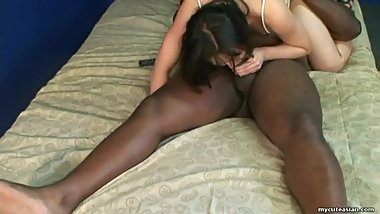 Sucking a black cock and she does a beautiful 69
