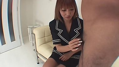Naughty Japanese cocksucker gets rough doggystyle fucking