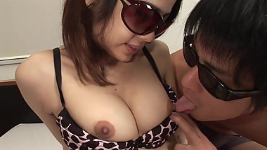 Cute brunette in animal print underwear fucks lover in bed