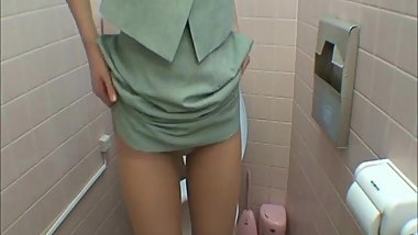 Horny ladies Getting Into Restroom Masturbation