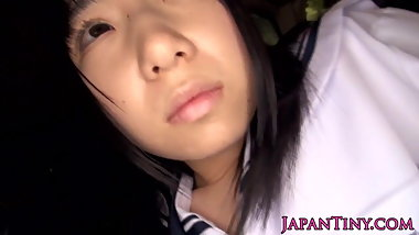 Innocent japanese schoolgirl swallows cum