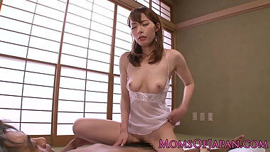 Japanese milf riding dick until cuminmouth