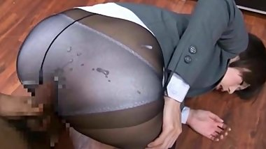 Blue 100% Nylon panties and Pantyhose Cumshot