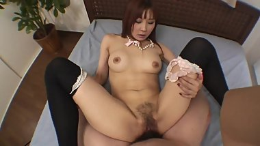 Amazing Hairy Japanese Woman with Nice Tits Pleases her Man