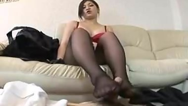 Messy Asian Nylon Footjob