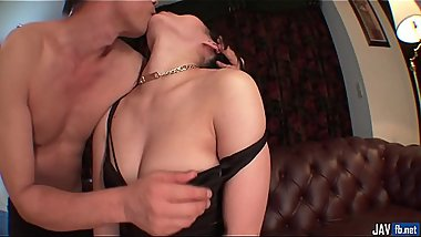 Anne enjoys Asian creampie in the end of a hard fuc