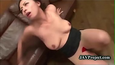 Horny milf Ryoko sucks cock in stockings and rides cock in hunger