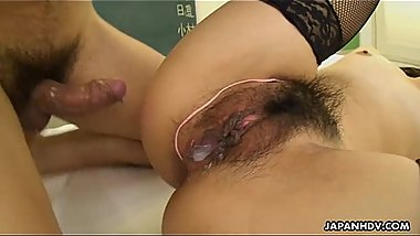 Asian teacher has a sexy brunette who he creams in